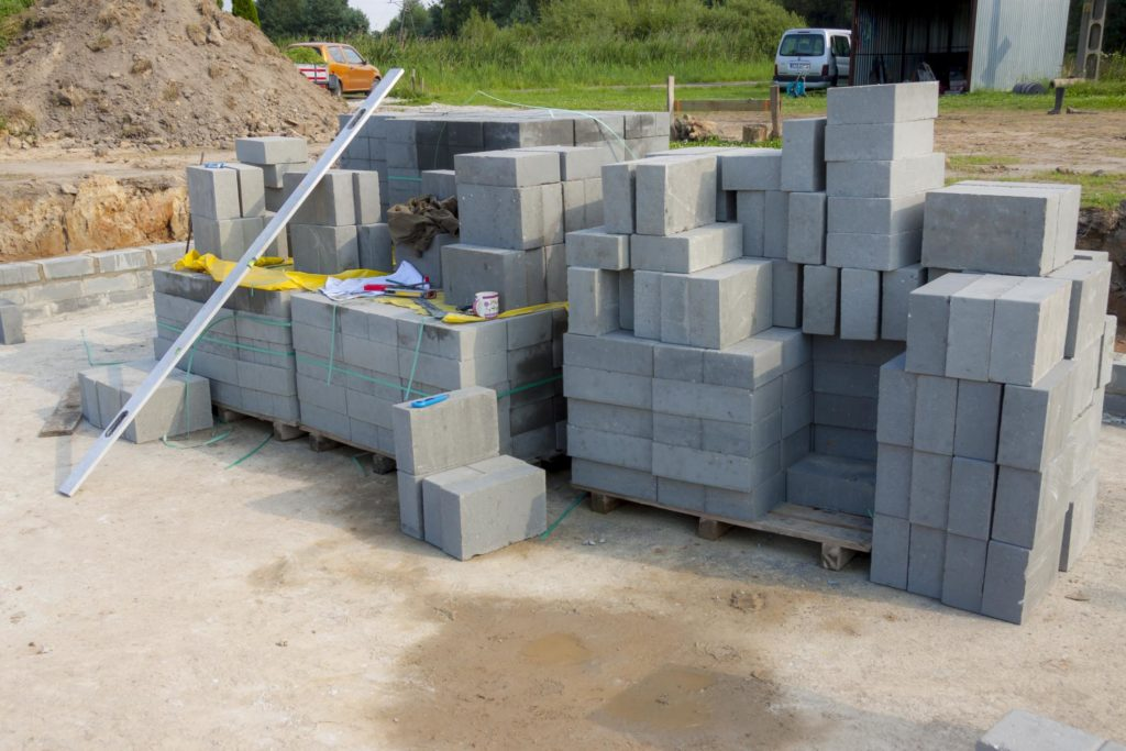 concrete stones stacked ready for install