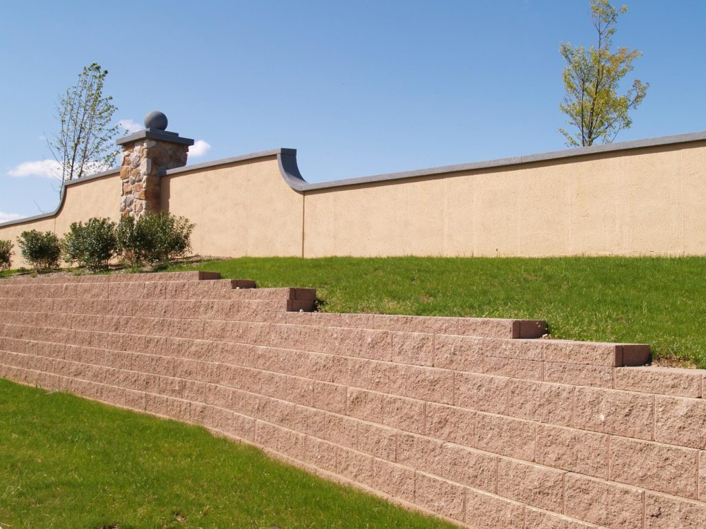 completed retaining wall project